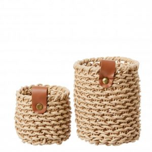 Woven Paper Basket_ set of 2_ Natural - 1