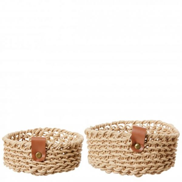Woven Paper Trays_ Set of 2_ Natural - 1